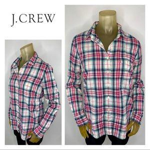 J.CREW Pink White Blue Plaid Button Down Shirt 10